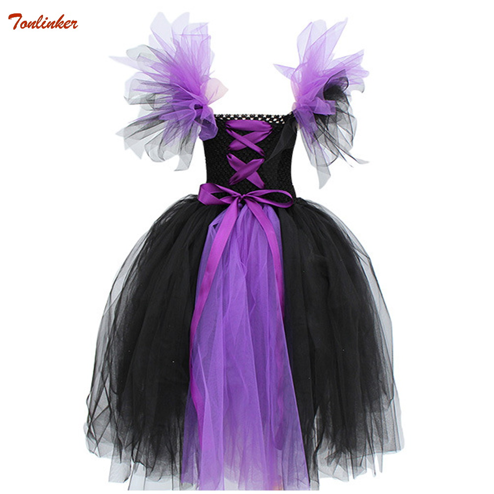 Girl Fairy Witch Tutu Dress Children Evil Queen Halloween Party Cosplay Costume Clothes Handmade Purple Black Tulle 2-10Yr