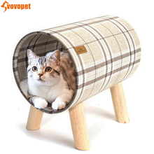 Round Cat Bed House Detachable wood shelf Pet cats Nest Warm Sleeping for small animal kitten pet Cushion Mat bed