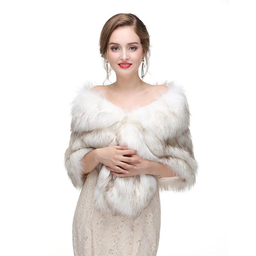 New Women's Faux Fur Shawl Shrug Universal Girl Wraps for wedding dresses,prom/evening/party/cocktail dresses
