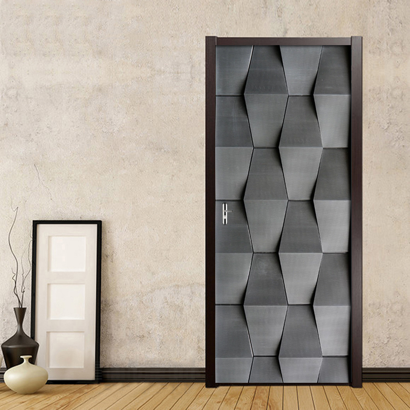 PVC Waterproof Self-adhesive Door Sticker 3D Stereo Abstract Gray Black Wallpaper For Living Room Bedroom Door Decor Mural Decal