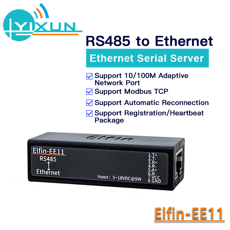 Serial Port RS485 To Ethernet Module Converter With Embedded Web Server HF Elfin-EE11 Support Modbus TCP