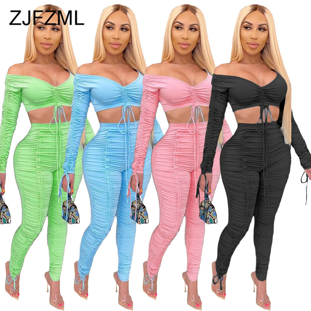 Neon Green 2 Piece Matching Set Summer Clothes For Women Slash Neck Long Sleeve Crop Top High Waist Ruched Stacked Pant Outfits