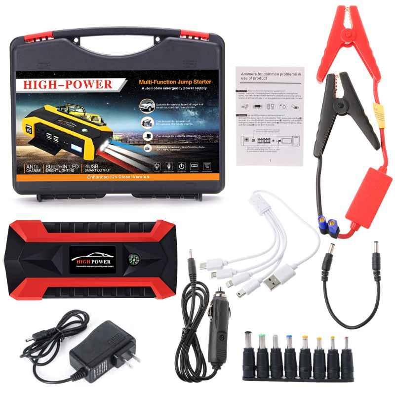 89800 MAh 4 Usb Portable Car Jump Starter Pack Booster Charger Power Bank U1JF