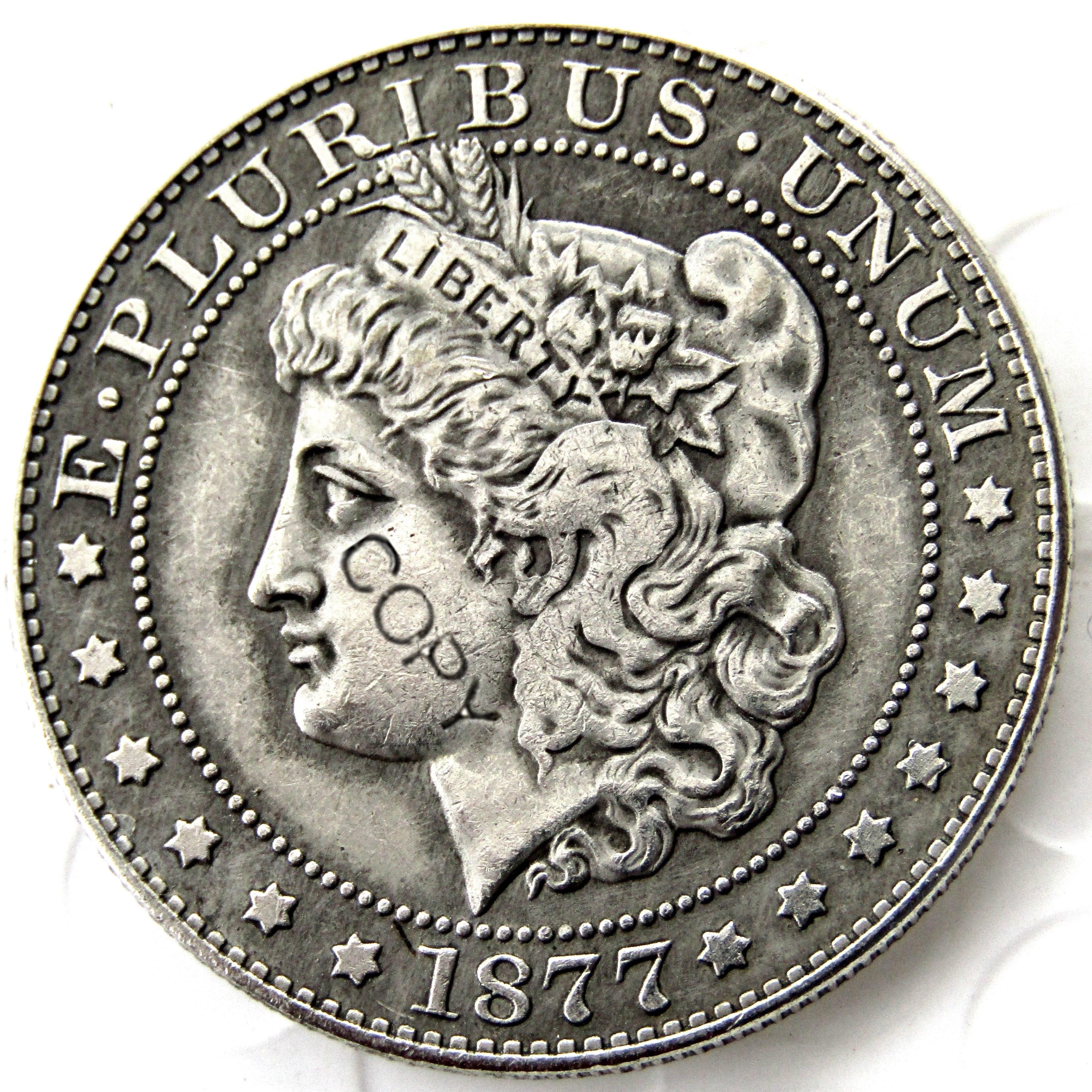 Moedas americanas 1877 morgan meio dólar moeda de cópia banhado a prata