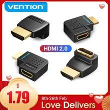 Przewód przedłużający Adapter HDMI 270 90 stopni w prawo kąt HDMI wtyk męski do HDMI żeński konwerter dla PS4 HDTV kabel HDMI 4K HDMI 2.0 Extender