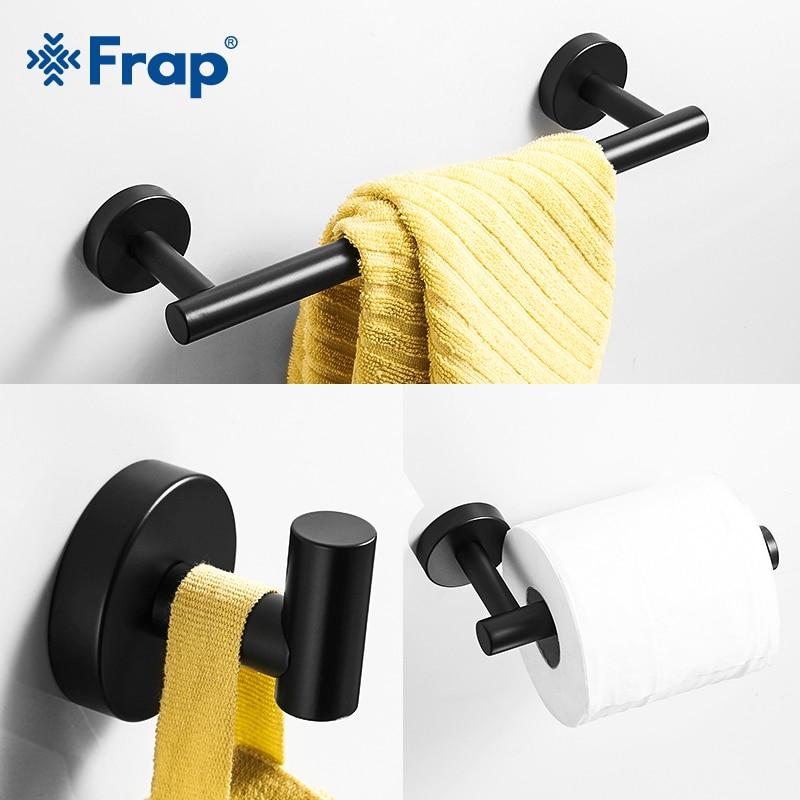 Frap Bath Hardware Sets Stainless steel modern bathroom shelf towel bar robe hooks toilet paper holder 3 color Y15003
