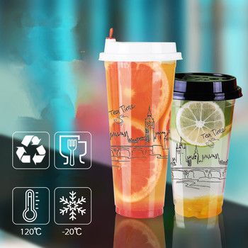 50pcs High quality transparent creative cold hot drink plastic cups 16oz 500ml party favor coffee tea beverage cup with lid
