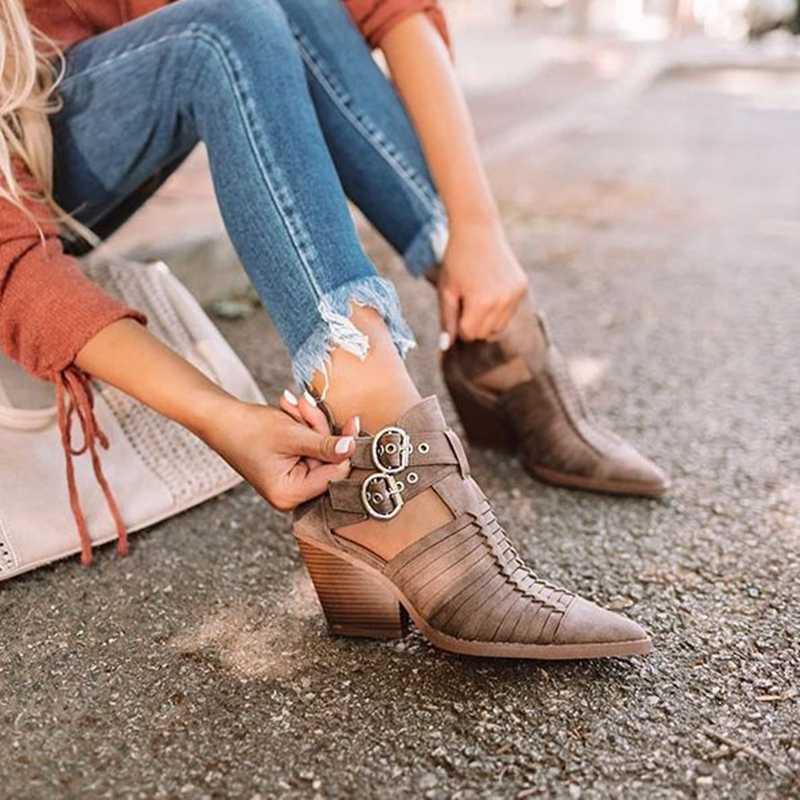 PUIMENTIUA mujeres romanas Botas de tobillo puntiagudas de cuero PU zapatos de tacón bajo Mujer Botines Sexy tacones altos Mujer Botas Mujer botte