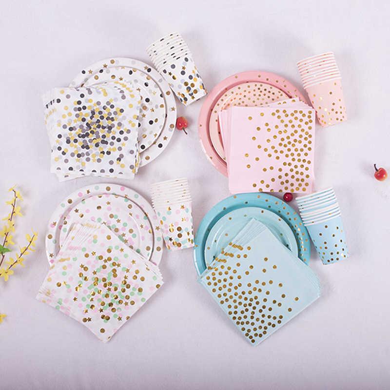 Warna-warni Emas Peralatan Makan Sekali Pakai Piring Piala Serbet Pisau Garpu Bintang untuk Bayi Ulang Tahun Pesta Pernikahan Natal Ramadan Deco