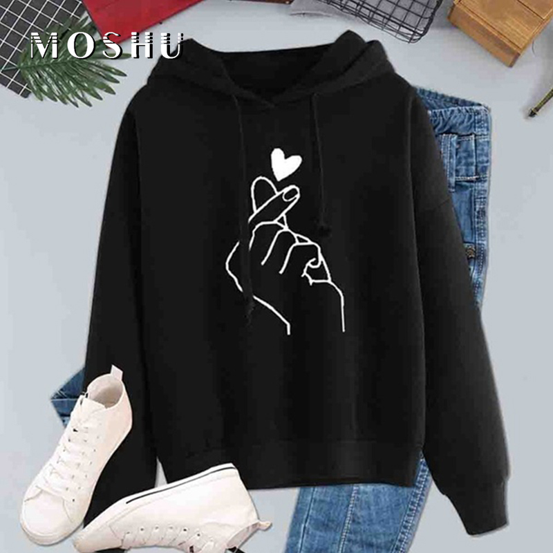 Fashion Sweatshirts Women Hoodies Casual Kpop Long Sleeve Ladies Autumn Pullovers Print Heart Love Pattern Hooded Drawstring