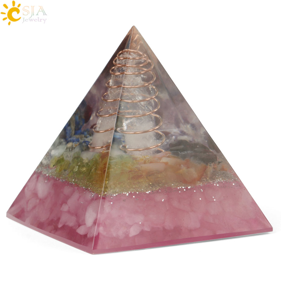 CSJA 49x49mm Orgone Pyramid Orgonite Energy Converter Natural Gravel Chakra Resin Metal Spiral Healing Luck Home Decoration G258