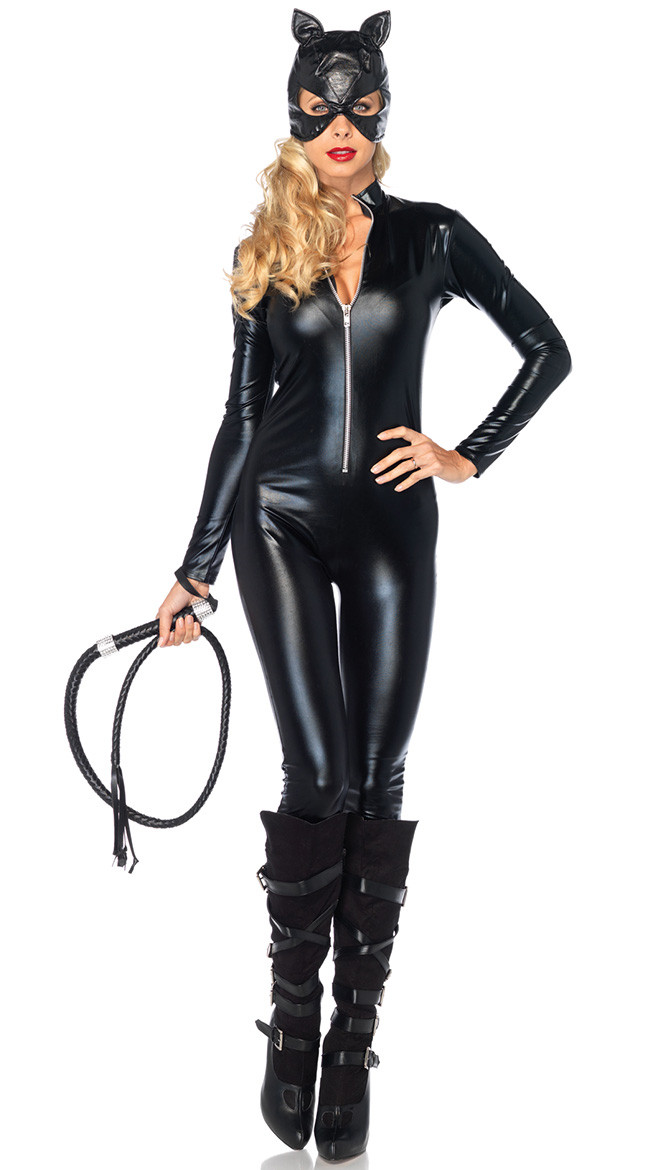 Adult Halloween Super Hero Cat Women Costume Sexy Black PU Patent Leather Bodysuit Zipper Stretchable Latex Catwoman Catsuit