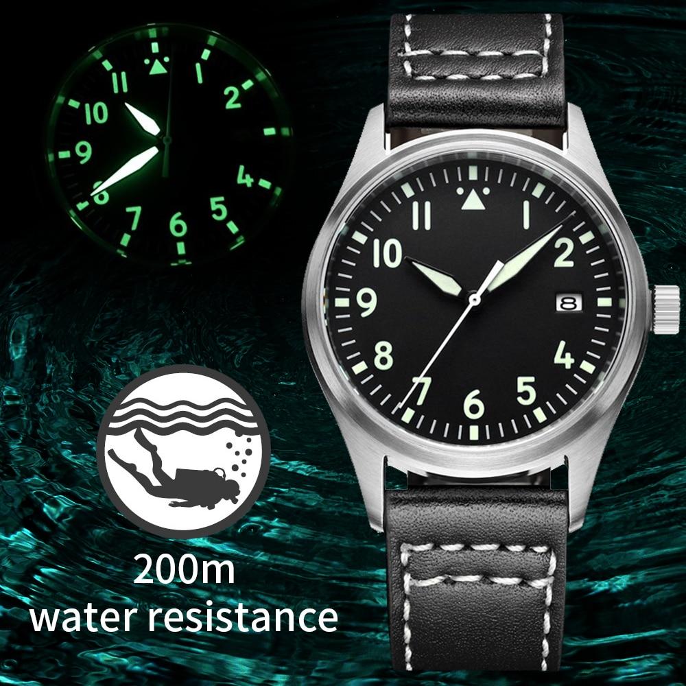 Japón NH35 Pilot Watch automático mecánico Diver reloj C3 Super luminoso hombres relojes zafiro cristal 200m reloj de buceo de lujo