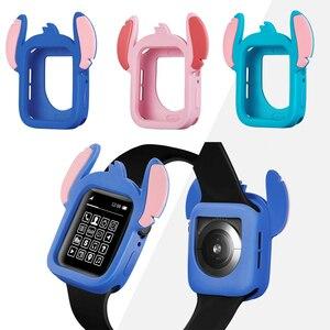 Стич Мультяшные силиконовые часы чехол для Apple Watch 5 44 мм 40 мм бампер Защита от падения для iWatch серии 4 44 мм 40 мм