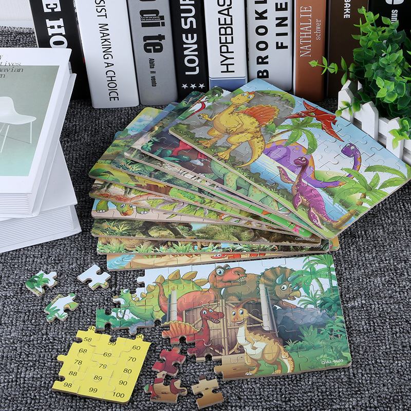60Pcs Wooden Puzzles Dinosaur Toys Big Dinosaur Egg Packaging Puzzle Jigsaw Board Animal 3D Puzzle Educational Toys Kids Gifts 5