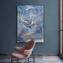 Nordic Abstract Canvas Painting Wall Art Light Blue Marble Poster Print Minimalist Pictures For Living Room Decoration