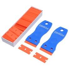 Foshio 2 pçs filme de fibra de carbono limpo raspador de lâmina + 100 pçs 1.5