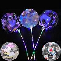 Globo luminoso con estampado de Mickey/Disney Princess/unicornio/Spiderman para niños, globo Led con palos, decoraciones para fiesta de cumpleaños, 20 pulgadas