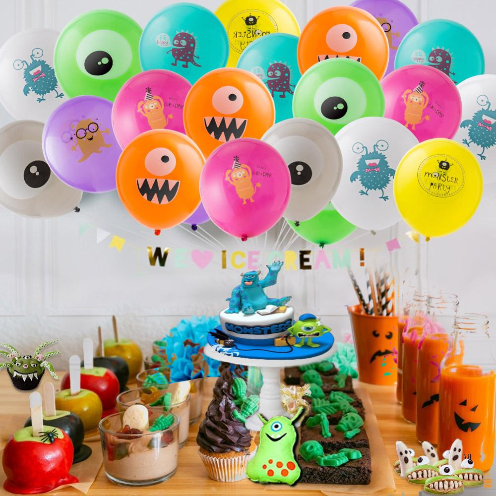 Monster Themed Kids Birthday Party Decorations Hanging Banner Latex Balloons Cake Topper Girl Boy Party Baby Shower Anniversary Party Diy Decorations Aliexpress