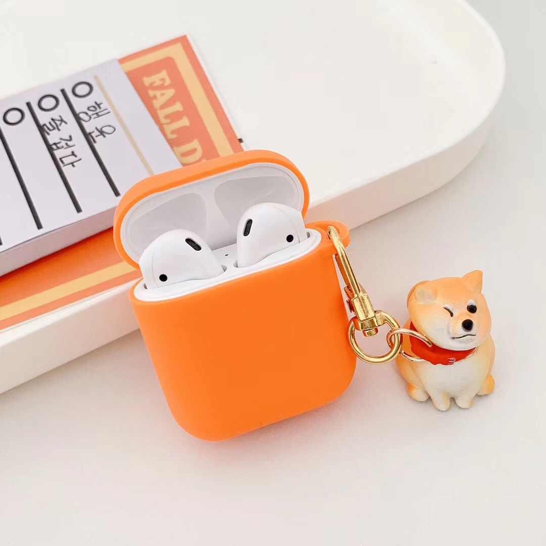 น่ารัก Shiba Inu ไร้สายบลูทูธซิลิโคนสำหรับ Apple Airpods สำหรับ Air Pods หูฟังการ์ตูนพวงกุญแจ