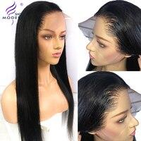 Бразильский парик 13*4 прямые человеческие волосы на кружеве парики для черных женщин Remy человеческие парики предварительно сорванные с вол...