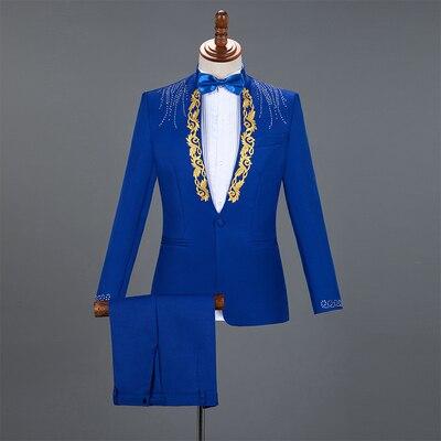 wedding : Autumn Slim Printed Wedding Men Suit Jacket Set For Marriage High Quality Stage Performance Host Formal Black Men Blazer