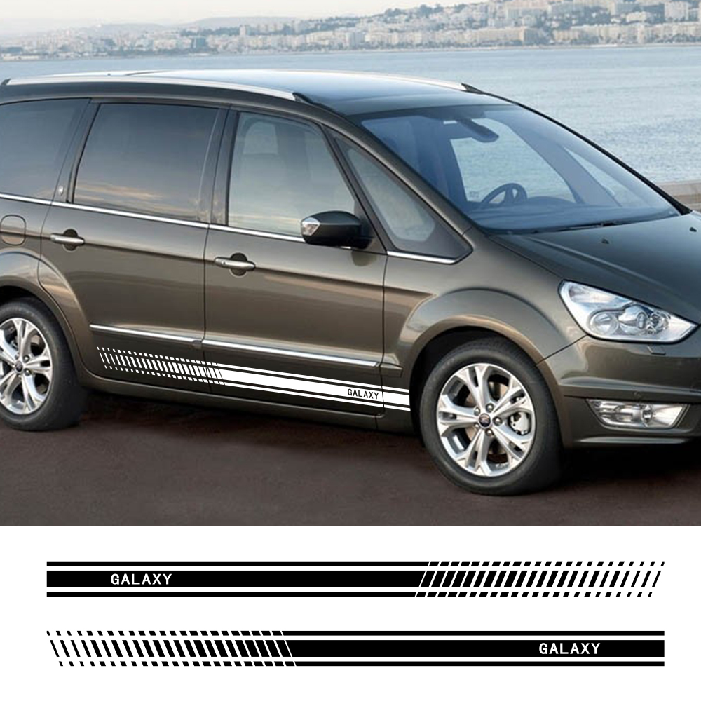 2Pcs Car Long Side Stripes Stickers For Ford Galaxy Auto Vinyl Film Styling Decoration Decals Automobile Car Tuning Accessories|Car Stickers| |  - title=