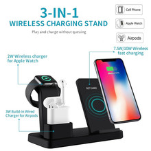 Cargador inalámbrico Qi de 10W para iphone X XS MAX 11 Pro 8 Plus 3 en 1 carga rápida para reloj de Apple 4 3 2 1 Cargador Inalambrico Movil(China)
