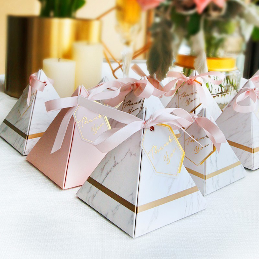 Triangular Pyramid Marble Candy Box Wedding Favors and Gifts Boxes Chocolate Box for Guests Giveaways Boxes Party Supplies002