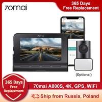 70mai A800S 4K Dash Camera A800S Dash Cam Ultra HD UHD 2160P risoluzione A800S 70mai telecamera posteriore RC06, GPS, 2.4/5G WiFi