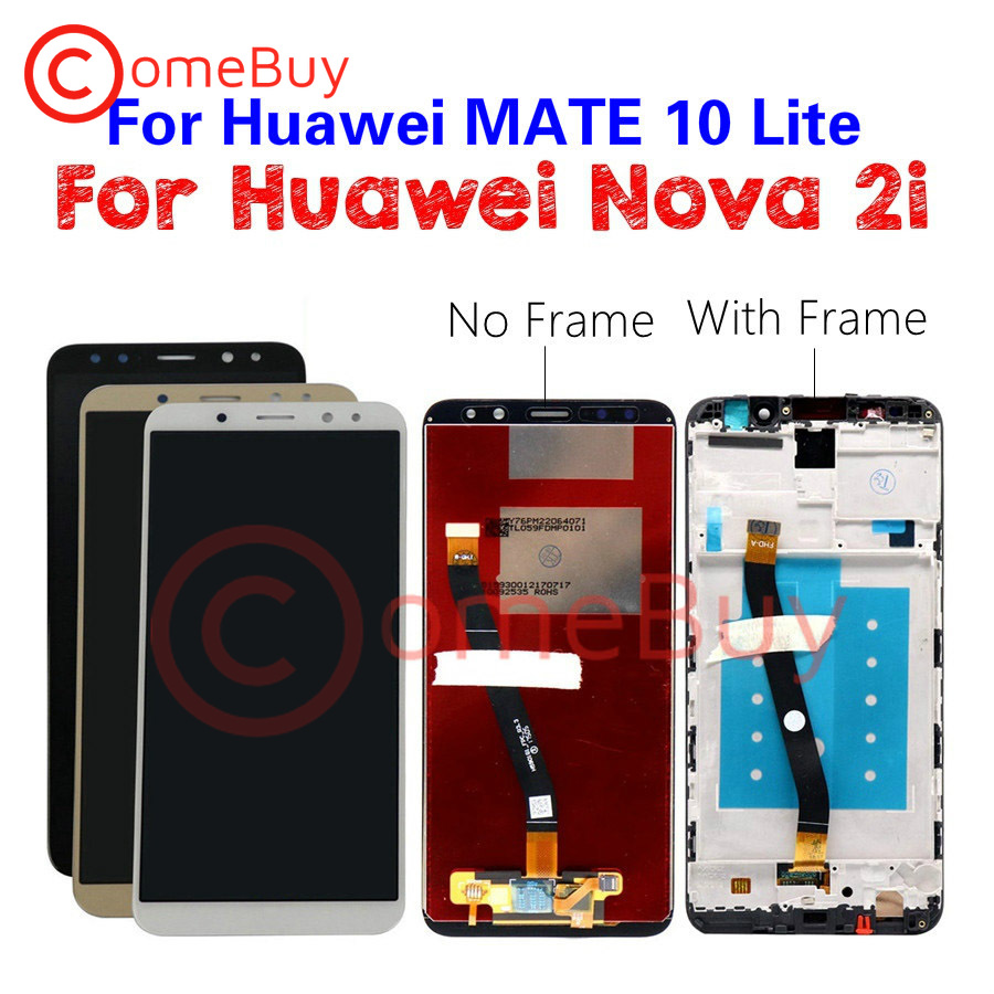 Comebuy para Huawei Nova 2i pantalla LCD Mate 10 Lite Pantalla de Panel táctil para Huawei Nova 2i con marco RNE-L21