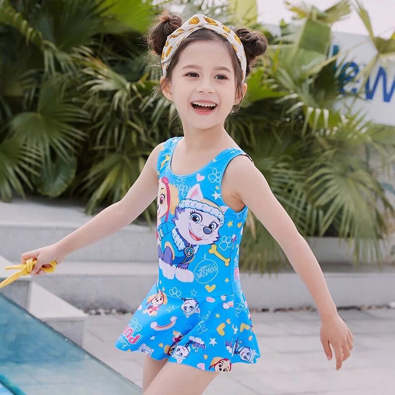Cartoon Children Want Patrol Swimsuit Girls Children Students Baby Hot Springs Swimwear GIRL'S One-piece
