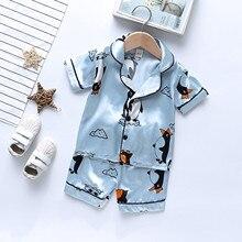 Summer Satin Silk Pajamas Sets Toddler Kids Baby Boy Girls Summer Cartoon Pajamas Sleepwear Tops Short Outfits Sleepwear 2021