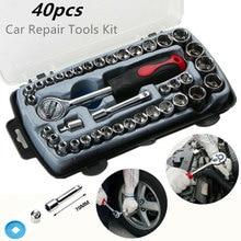 BINOAX 40pcs Car Repair Tool Socket Set Ratchet Wrench Spanner Combination Hand Tools