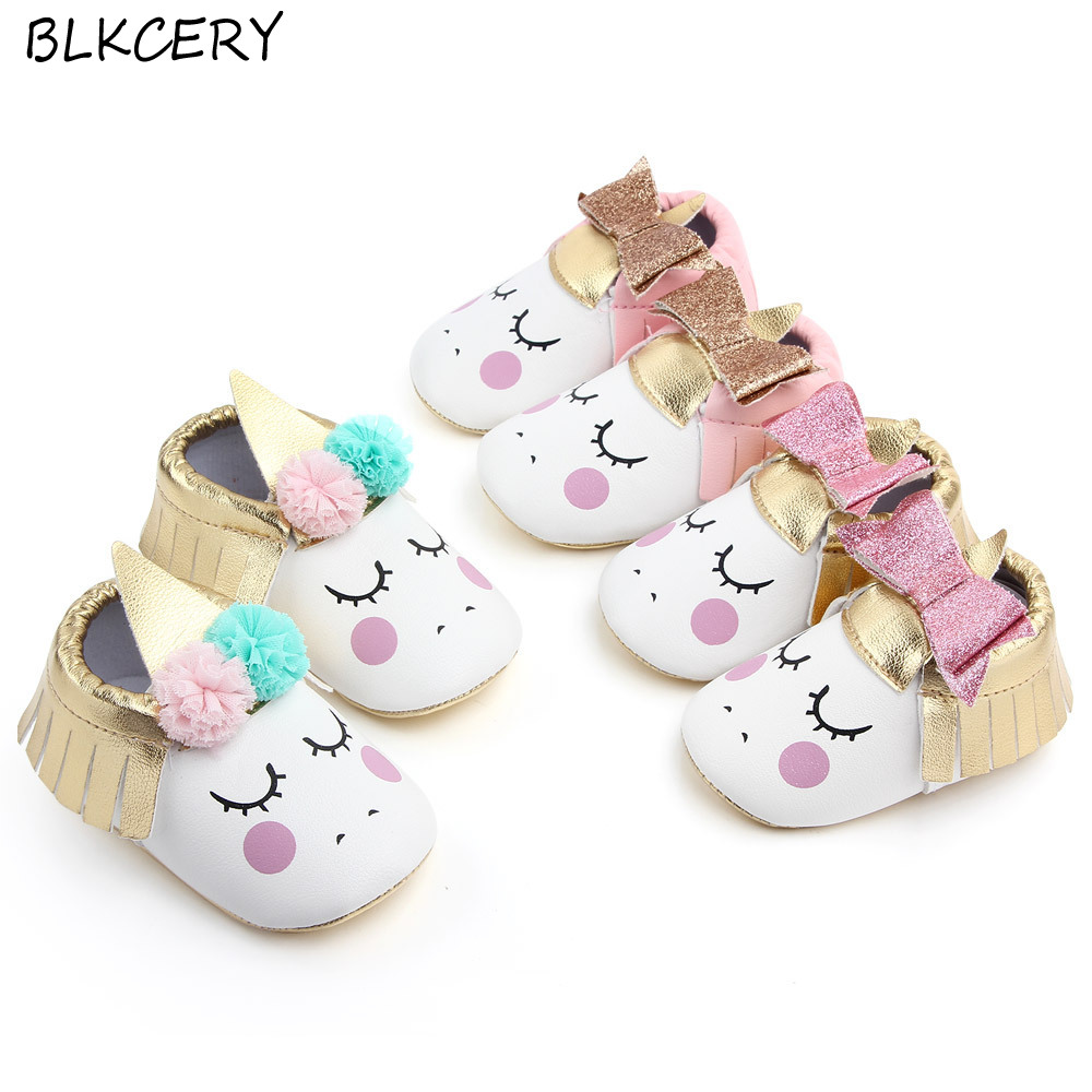 Famous Brand Shoes New Fashion Newborn Baby Girls Shoes Infant Cartoon Loafers 1 Year Old Soft Sole Fringe Bows Toddler Slippers