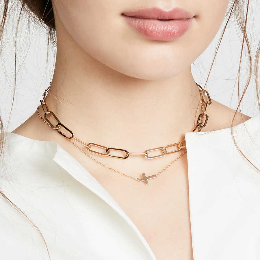 Nuevos regalos para mujeres Cierre de cierre de primavera declaración collar de cadena gruesa corto grande cubano enlazado collar Mega cadena collar joyas