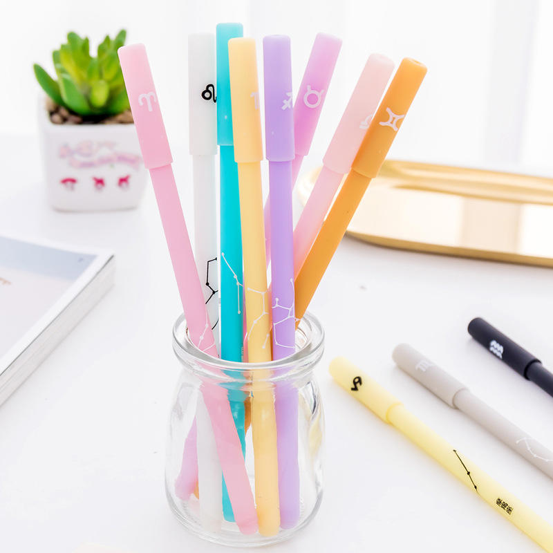 Creative Jelly Color 12 Constellations Gel Pen 0.5mm Black Ink Writing Gel Pen Stationery Gift Office School Supplies