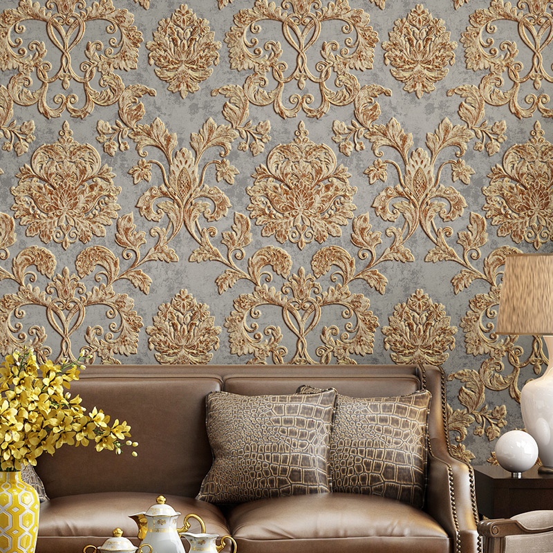 3D Embossed Texture Wall Paper Luxury Natural Fiber Black Gray Beige Brown Non-woven Wallpaper Living Room Background Wall
