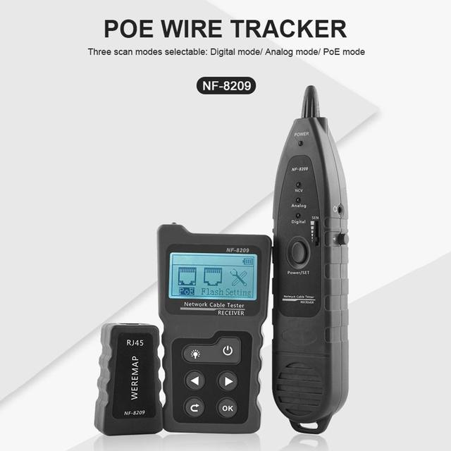 NF-8209 LCD Display Measure Length Lan Cable POE Wire Checker Cat5 Cat6 Lan Test Network Tool Scan Cable Wiremap Tester 1