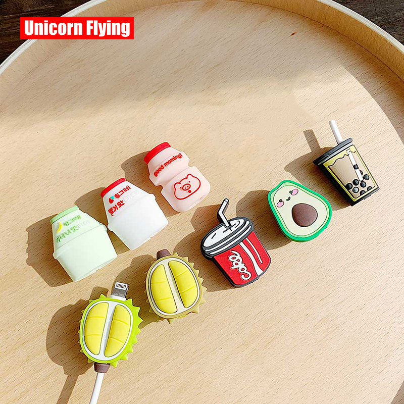 LinXiang Charger Wire Holder Organizer Protection Cartoon Avocado Durian Milk Tea Universal USB Phone Data Cable Protector