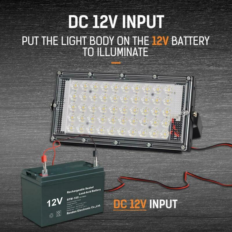 50W LED Flood Light Spotlight Outdoor Security Garden Lampscape Lamp IP66 Waterproof  DC 12V Input 180 Degree Adjust Floodlights