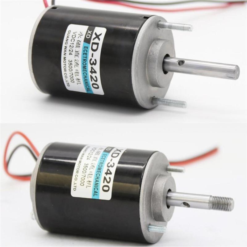 12V/24V DC Permanent Magnet High Speed Motor Forward and Reverse Speed Regulating Motor 30W Pure Copper Coil Adjustable Motor