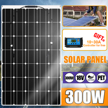 300W 600W Portable Solar Panel Charger 18V Solar Panel Kit Complete Connector for Outdoor Camping Car Boat Smartphone Charger