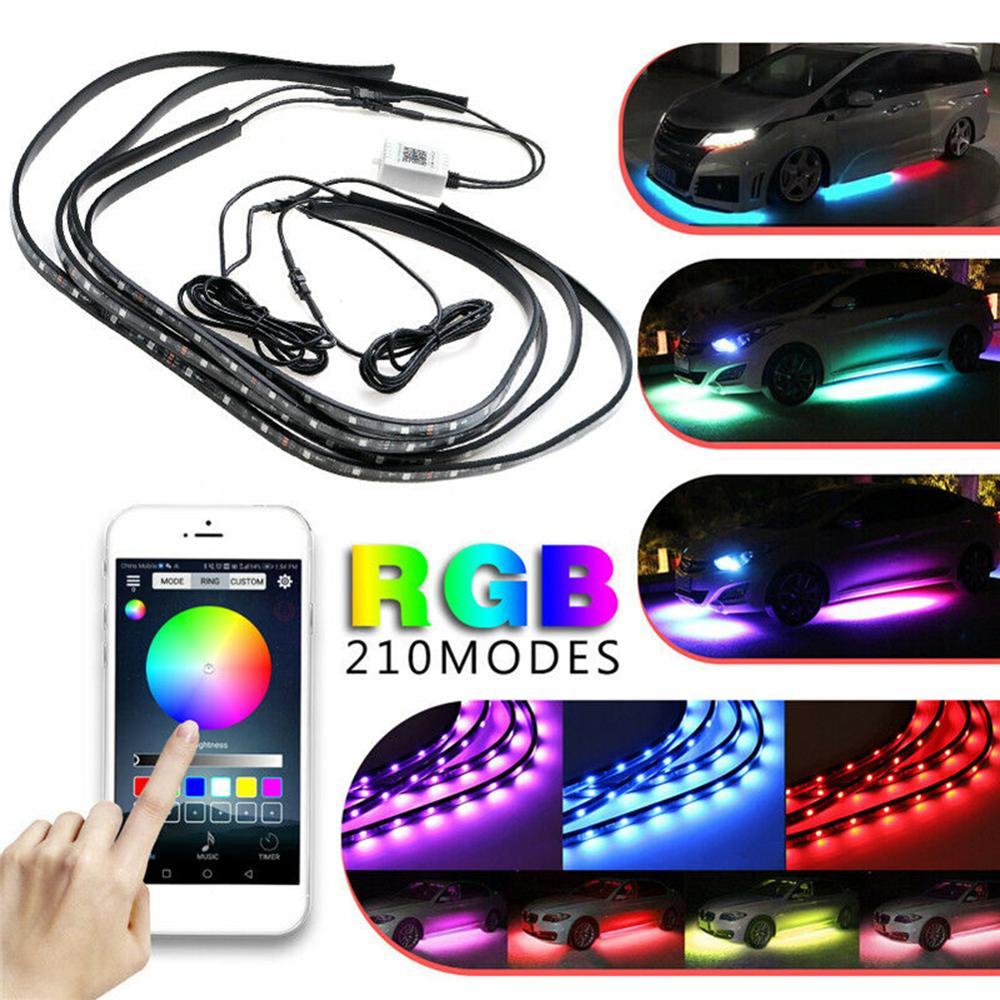 Светодиодная лента для автомобиля, 4 шт., 12 В, IP65, Bluetooth, управление через приложение, RGB, 60-90 см, неоновый светильник