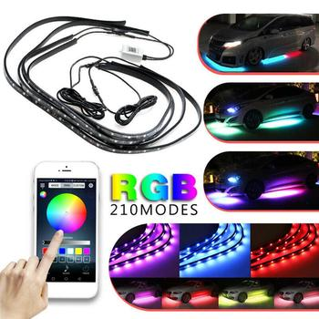 4PCS 12V IP65 Bluetooth App Control RGB LED Strip Under Car 60 90 cm Tube Underglow Underbody System Neon Light image