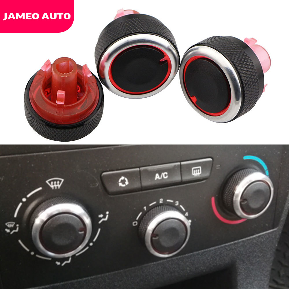 Jameo Auto Aluminum Alloy Air Conditioning Knob for Peugeot 307 CITROEN C4 C-TRIOMPHE AC Heat Control Switch Button Knobs image