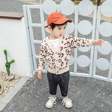 Children's Spring Autumn Long Sleeve Sweaters Kids Leopard Print Casual Cardigan Boys and Girls Preppy Style Sweater Cardigan new preppy style children s clothing spring autumn winter long sleeve sweater cardigan boys cotton v neck solid kids sweaters