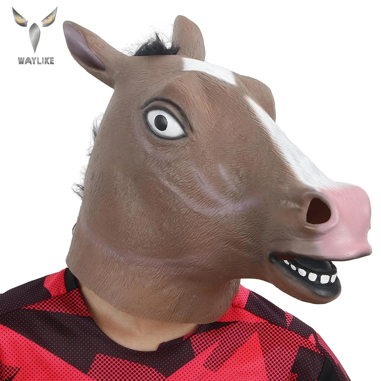 Waylike Halloween Mask Ball Cosplay Latex Horse Head Mask Animal Head Set Horse Mask Dog Horse Jun Horse Mask Boys Costume Accessories Aliexpress