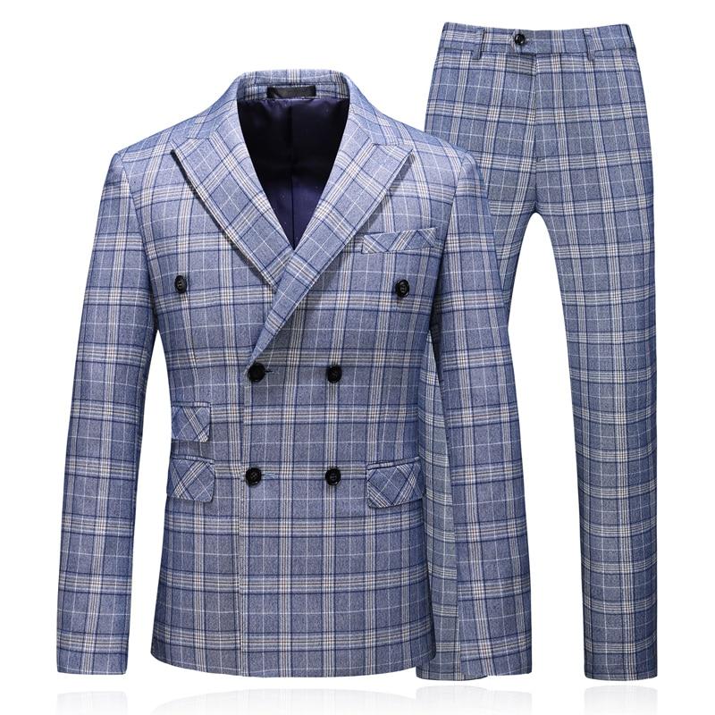 Men Plaid Business Casual Suit + Pants + Vest Three-Piece Set, High Quality Classic Male Suit/Double-Breasted Fashion Suit Groom