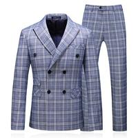 Men Plaid Business Casual Suit + Pants + Vest Three Piece Set, High Quality Classic male Suit/Double Breasted Fashion Suit Groom